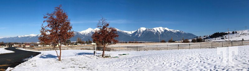 Panorama St. Ignatius village area and Montana mountains in Missoula area