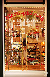 Toy store window display in Cologne, Germany
