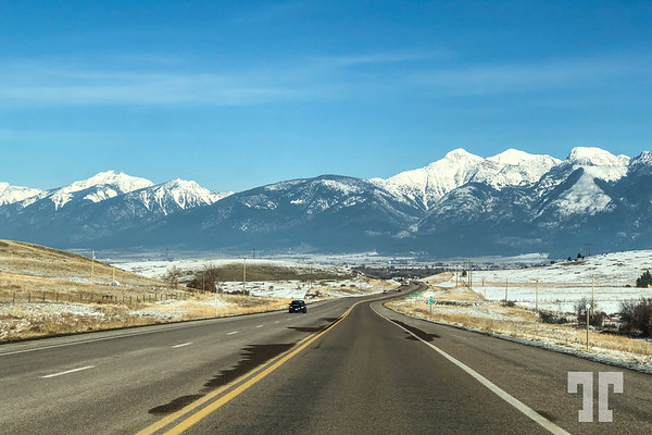 Road and Montana Mountains in Missoula area