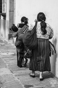 two-women-street-antigua-guatemala-black&white