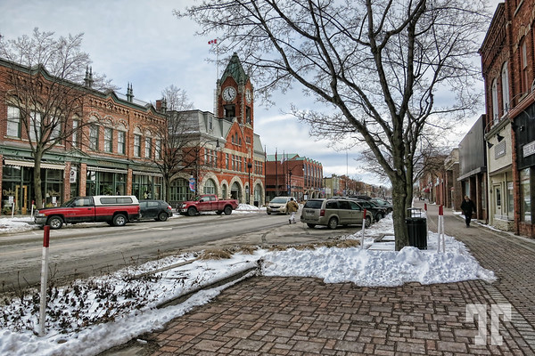 Main street in Collingwood with snow