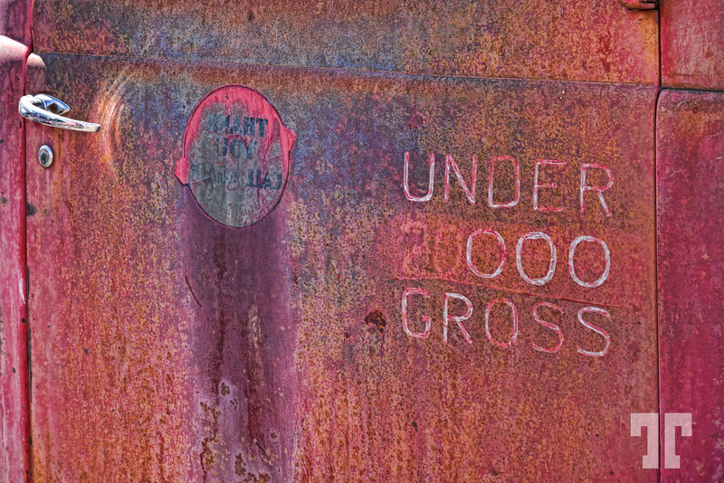 Rusted sign on an old truck in Sprague, Washington