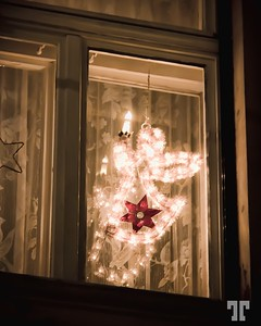 Angel in the window at Christmas time in Bamberg, Germany
