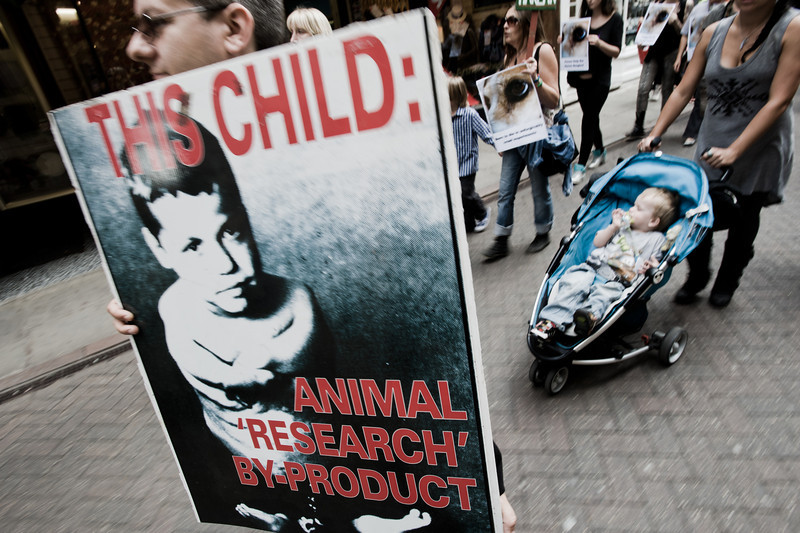 "a rally in Cambridge against animal testing<br><span style=""font-size:75%"">©Yangchen Lin</span>"