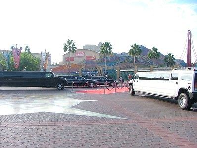 OK, now to the fun stuff, some STRETCH limos parked in the Main Entry Plaza