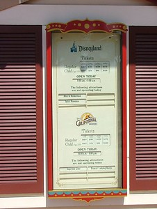 Well, stopped by the resort to check on the information posted at MouseInfo.com that the Superstar Limo signage was removed.. well, still listed on the ticket windows...