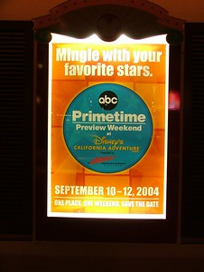 One of the older ABC Primetime Preview signs, sounds like Friday should have lots of stars... but it WON'T.. show up Saturday and/or Sunday for the event....
