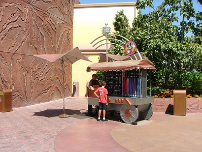 The old Pin Trading area now houses a cart selling pins...