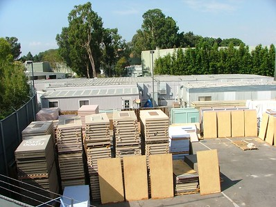 From the monorail, lots of rehab walls are ready to be placed in the park....