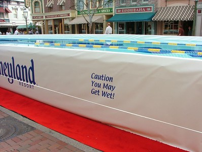 Spectators might get wet, well, DUH! There is a pool right down the middle of Main Street