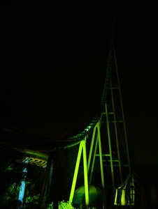 Montezuma Revenge looking good at night, it is also the exit for Terror Vision (You walk thru a backstage area)