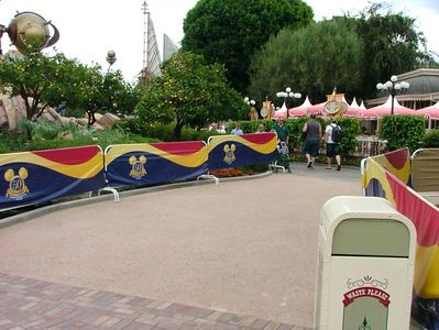 New wider paths in front of the Plaza Inn