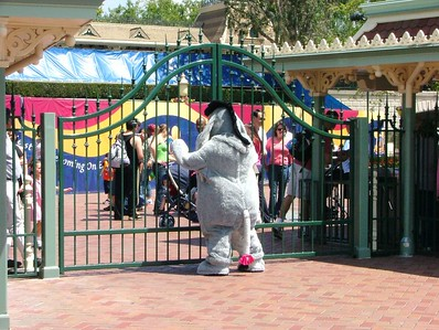 Eeyore was outside the gates, entertaining the guests waiting in line.