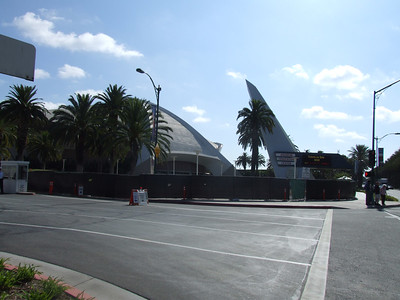 Work continues on the Anaheim Convention Center entrance on Katella Avenue
