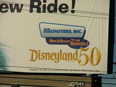 Remember, you only have a second or two to read this billboard, doesn't it look like the ride is at Disneyland?