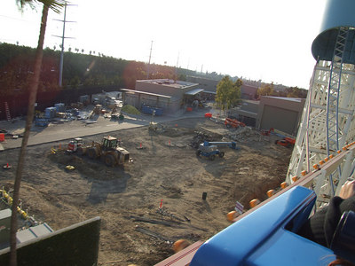 A great look at the Midway Mania construction site (south of the Midway area) backstage