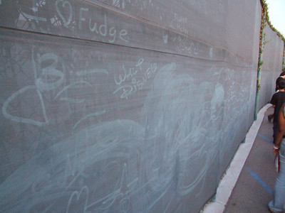 People were writing on the dusty fence