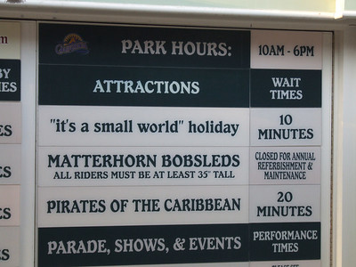 Interesting, the sign says the Matterhorn is closed, and based on what the Guest Relations CM says, that is correct (they called over and told they are officially closed)