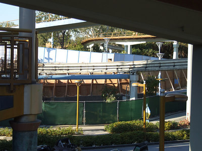 """The walls take up half the ramp, so it looks like this will be Exit only for a few months, and the """"Emergency Exit"""" staircases on the west end will be the """"temporary entrance"""" to the Monorail"""