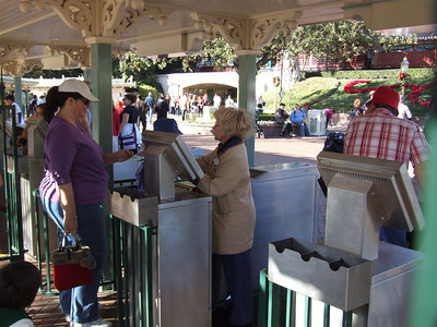 Only one turnstile per park has the new front.