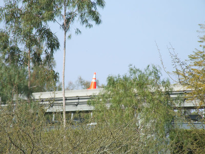 """The Monorail is now in """"Shuttle"""" Mode thru Labor Day, this cone has been placed on the rail to remind the Pilots that they can't go any farther."""