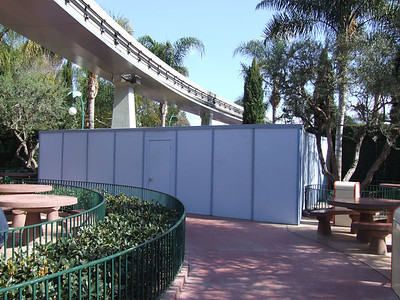 A refurb wall is up in the Picnic Area