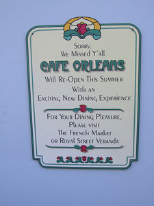 "Announcement of the ""new dining experence"" at Cafe Orleans"