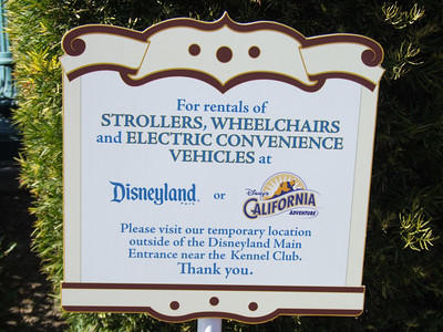For Spring Break, DIsney once again closed the main stroller rental area in both Disneyland and DCA, and offers one location near the kennels.