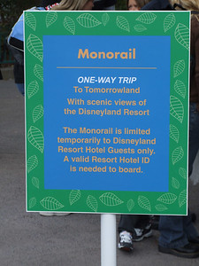 A quick update from Sunday.  This is the first time that I have seen Disney restrict the Monorail this year