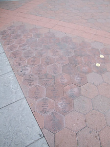 All these folks have something in common.... FYI, these bricks are the closest to the Disneyland Main gates