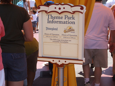 """Looks like someone lost the """"Pirates of the Caribbean"""" signs, every Theme Park Information sign on the West side was missing that important fact today...."""