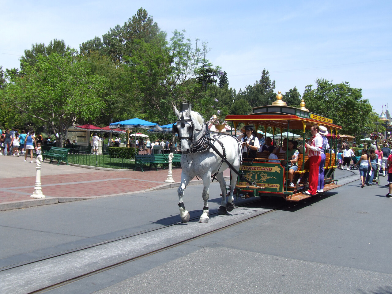 The Dapper Dans enjoying the trolley down Main Street
