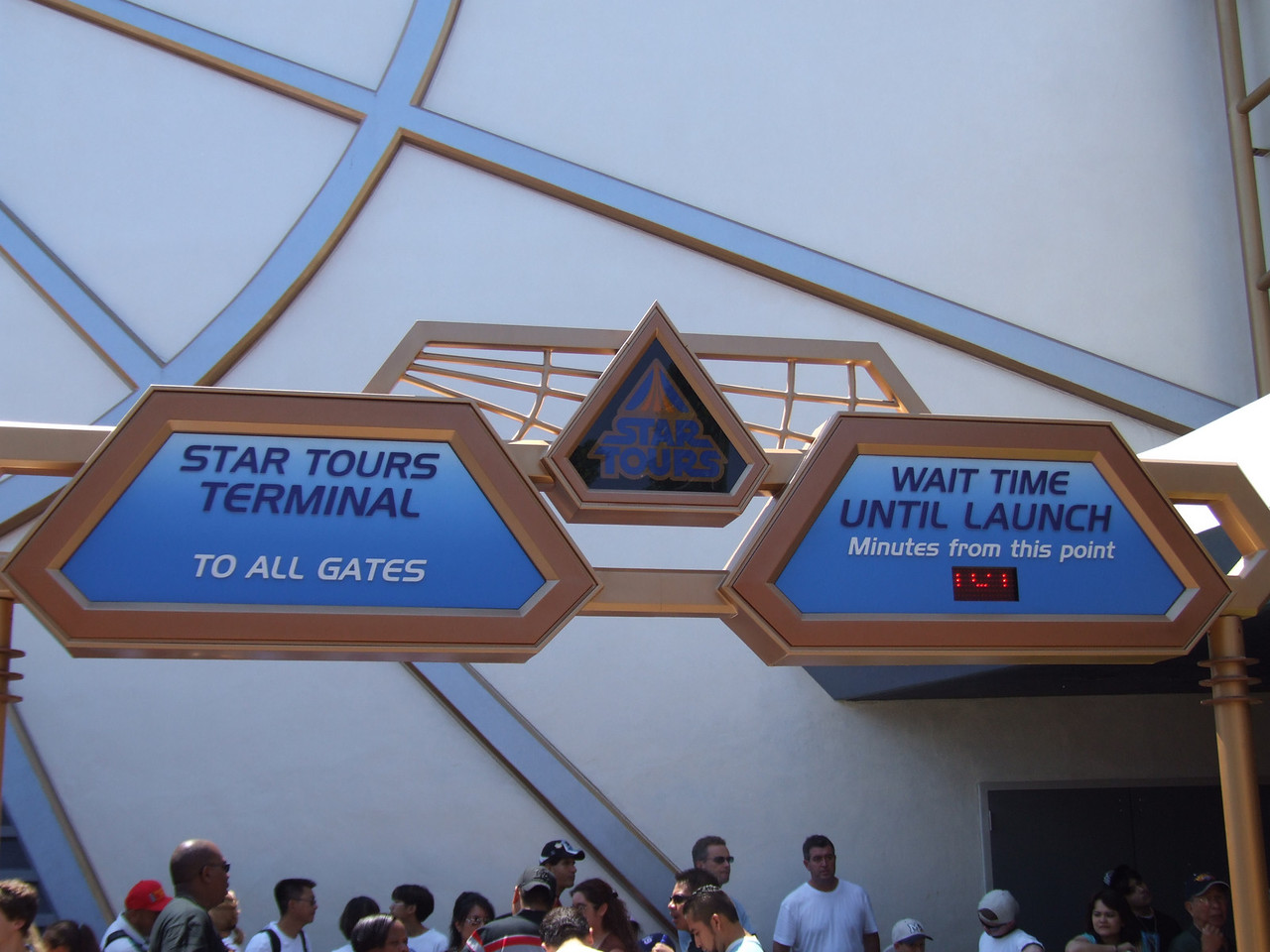 The Star Tours sign has been updated