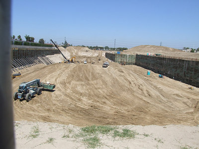 A quick look at the large pit being dug for Anaheim Garden Walk.