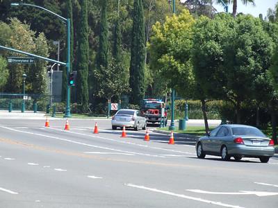 Southbound Disneyland Drive was closed at Magic Way