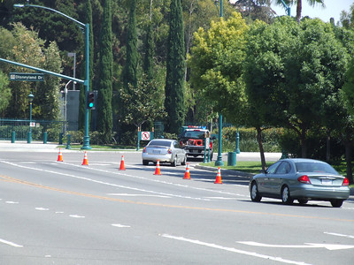 Southbound Disneyland Drive was closed at Magic Way