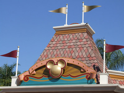 The 50th logos have been removed from the ticket booths