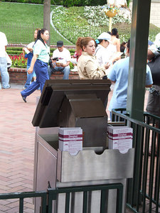 The new larger monitor at the turnstiles required a new place to place the park maps and TIMES guide