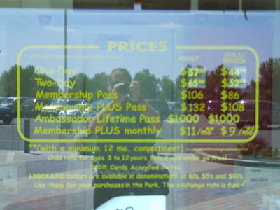 LEGOLAND has raised the price for adults (only) $3 recently