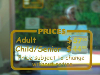 That is $57 for adults, and $44 for kids and seniors