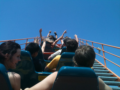 Climbing the first hill on Titan.  Titan is definitely still a great ride.