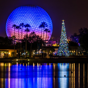 Reflections of Christmas in World Showcase Lagoon