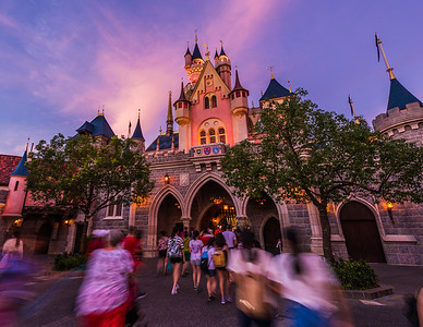 Standing Behind Sleeping Beauty Castle at Sunset