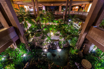 Polynesian Lobby Waterfalls - Looking Down