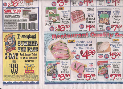 The Stater Bros. Ad has the DLR Summer Fun Pass on the inside flap of Page 2. The only ad I don't have is the Gelson's Market ad, which has some locations in Southern California, but nothing near wher I live in Tustin.