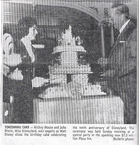 Here is Walt Disney cutting the 10th Anniversary cake on Sunday, July 18th, 1965.  Pretty clear what Walt thought the Opening/Anniversary Date was.