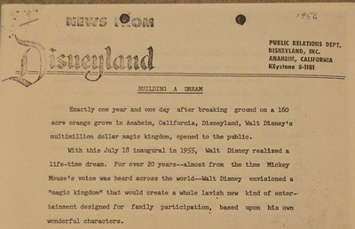 An official 1956 Disneyland Press Release