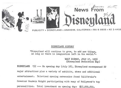 This Press release is from July 11th, 1967, after Walt passed away in 1966, and it clearly shows Opening Day as July 18th. This is the last official Disney document showing July 18th as Opening Day that I found.