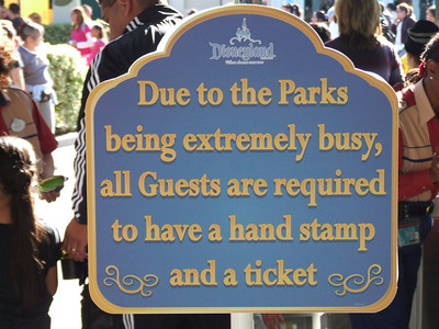 Also, if you don't know, there are 2 sets of stamps, one for Disneyland, and a seperate set (different word) for DCA.  This way, if the crowds get large enough that Disney decided to only allow re-entry, you will need a Disneyland stamp to get back into Disneyland.  So even if you got a DCA stamp earlier in the day, get another hand stamp if you exit Disneyland, so you can protect your right to re-entry during a busy time.