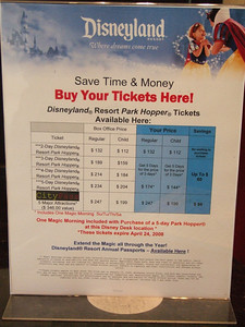 These are the current prices at the Disneyland Welcome Center at the Doubletree Hotel.  They are the sam price as the Good Neighbor Hotel current offers.  They are $5 more than at Disneyland.com on the 5 days for the price of 3, so getting them online is the better option, but if you are making a last minute trip, these are a lot cheaper than the 3 to 5 day ParkHoppers at the Main Ticket Booths.